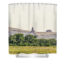 Shower Curtain featuring the photograph Hazy Chimney Rock by Sue Smith