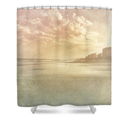 Hazy Day At The Beach Shower Curtain