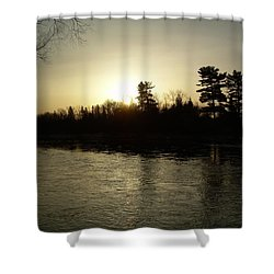 Shower Curtain featuring the photograph Hazy Mississippi River Sunrise by Kent Lorentzen