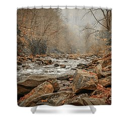 Hazy Mountain Stream #2 Shower Curtain