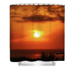 Hazy Sunset In Golden Bay Shower Curtain by Stephan Grixti