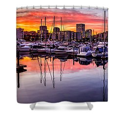 Hdr Sunset On Thea Foss Waterway Shower Curtain