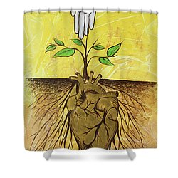 Shower Curtain featuring the painting He Cultivates Our Hearts by Nathan Rhoads