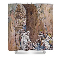 He Did No Miracles Save That He Healed Them Shower Curtain by Tissot