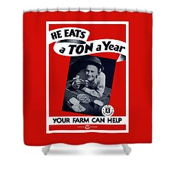 He Eats A Ton A Year Shower Curtain by War Is Hell Store
