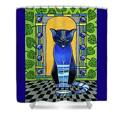 Shower Curtain featuring the painting He Is Back - Blue Cat Art by Dora Hathazi Mendes