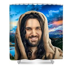 Shower Curtain featuring the digital art He Watches Over Me 2 by Karen Showell