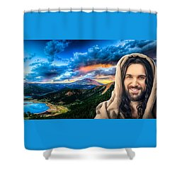 Shower Curtain featuring the digital art He Watches Over Me by Karen Showell