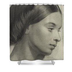 Head Of A Girl Shower Curtain by Anonymous