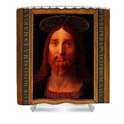 Shower Curtain featuring the painting Head Of Christ                                   by Fernando De La Almedina