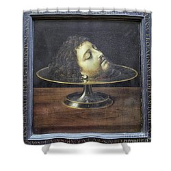 Shower Curtain featuring the photograph Head Of John The Baptist, 1507, With Frame And Inscription -- By by Patricia Hofmeester