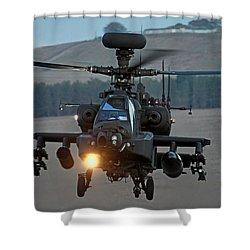 Head On Ah64 Apache Shower Curtain