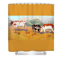 Shower Curtain featuring the painting Headed For The Barn by Nancy Jolley
