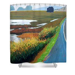 Shower Curtain featuring the painting Heading North by Gary Coleman