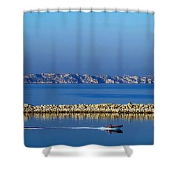 Heading Out To Sea At Dawn Shower Curtain