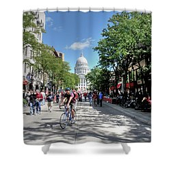Heading To Camp Randall Shower Curtain by David Bearden