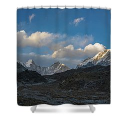 Shower Curtain featuring the photograph Heading To Everest Base Camp by Mike Reid