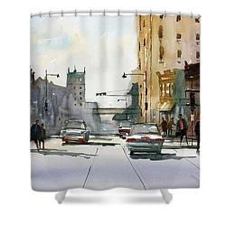 Heading West On College Avenue - Appleton Shower Curtain by Ryan Radke