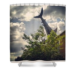 The Famous Shark House Shower Curtain by Katie Greenwood