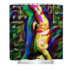 Headstand Naked Unconventional Figure Portrait Painting Bright Colorful Gymnastics Old Man Nude Male Men Athletic Stomach Fat Feet Head Hands Rainbow Shower Curtain by MendyZ
