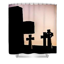 Headstones At Night, Peak District, England, Uk Shower Curtain