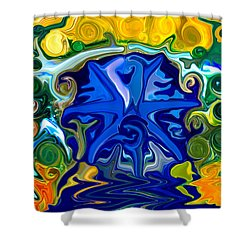Shower Curtain featuring the painting Headwaters by Omaste Witkowski