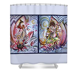 Healing Art - Musical Ganesha And Saraswati Shower Curtain