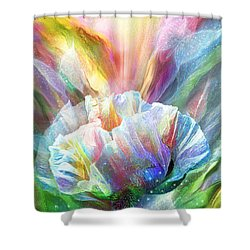 Shower Curtain featuring the mixed media Healing Poppy With Butterflies by Carol Cavalaris