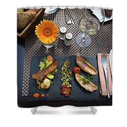 Health Fish Dish Served At A French Restaurant Shower Curtain by Semmick Photo