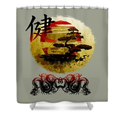 Health Oriental Symbol Shower Curtain by Robert G Kernodle