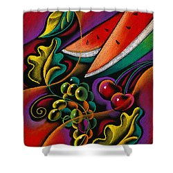 Healthy Fruit Shower Curtain by Leon Zernitsky