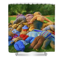Shower Curtain featuring the photograph Heap Of Scarecrows by Nikolyn McDonald