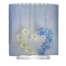 Heart And Flowers Shower Curtain