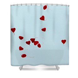 Heart Balloons In The Sky Shower Curtain