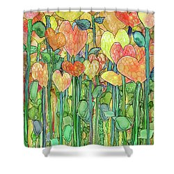 Shower Curtain featuring the mixed media Heart Bloomies 1 - Golden by Carol Cavalaris