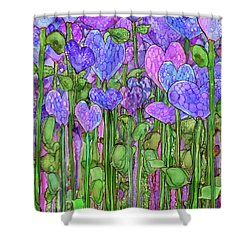Shower Curtain featuring the mixed media Heart Bloomies 1 - Purple by Carol Cavalaris