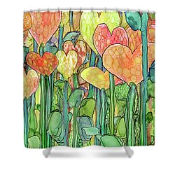 Shower Curtain featuring the mixed media Heart Bloomies 2 - Golden by Carol Cavalaris