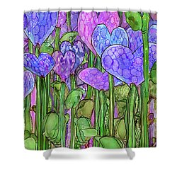 Shower Curtain featuring the mixed media Heart Bloomies 2 - Purple by Carol Cavalaris