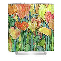 Shower Curtain featuring the mixed media Heart Bloomies 3 - Golden by Carol Cavalaris