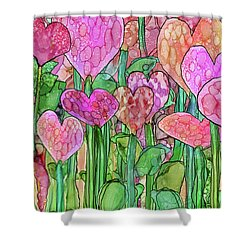 Shower Curtain featuring the mixed media Heart Bloomies 3 - Pink And Red by Carol Cavalaris
