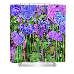 Shower Curtain featuring the mixed media Heart Bloomies 3 - Purple by Carol Cavalaris