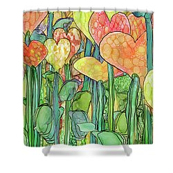 Shower Curtain featuring the mixed media Heart Bloomies 4 - Golden by Carol Cavalaris