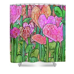 Shower Curtain featuring the mixed media Heart Bloomies 4 - Pink And Red by Carol Cavalaris
