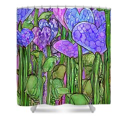 Shower Curtain featuring the mixed media Heart Bloomies 4 - Purple by Carol Cavalaris