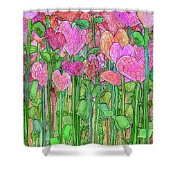 Shower Curtain featuring the mixed media Heart Bloomies 1 - Pink And Red by Carol Cavalaris