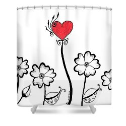 Heart Flower Shower Curtain by Billinda Brandli DeVillez