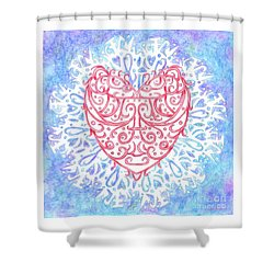 Heart In A Snowflake II Shower Curtain by Lise Winne