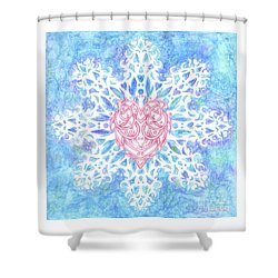 Heart In Snowflake Shower Curtain