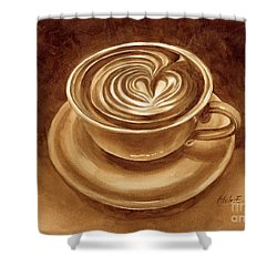 Shower Curtain featuring the painting Heart Latte by Hailey E Herrera