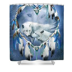 Shower Curtain featuring the mixed media Heart Of A Wolf 3 by Carol Cavalaris